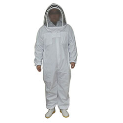 White Cotton Beekeepers Suit with Fencing Veil
